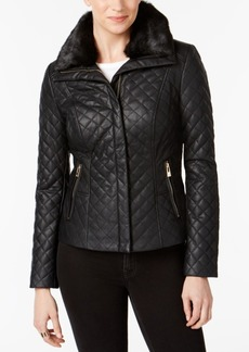 INC International Concepts I.n.c. Faux-Fur-Collar Faux-Leather Quilted Jacket