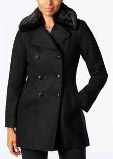 Inc International Concepts Faux-Fur-Collar Wool-Blend Peacoat, Created for Macy's