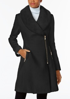 Inc International Concepts Faux-Fur-Trim Asymmetrical Walker Coat, Created for Macy's