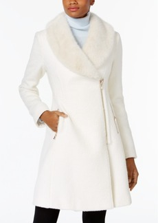Inc International Concepts Faux-Fur-Trim Asymmetrical Walker Coat, Only at Macy's