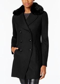 I.n.c. Faux-Fur-Trim Peacoat, Created for Macy's