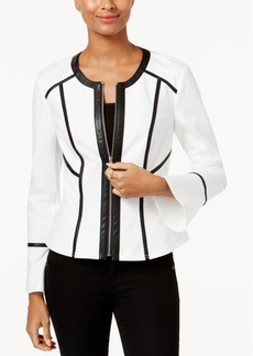 Inc International Concepts Faux-Leather-Trim Peplum Jacket, Created for Macy's