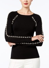 Inc International Concepts Faux-Pearl-Embellished Sweater, Created for Macy's