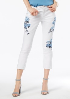 Inc International Concepts Curvy-Fit Floral-Embroidered Cropped Jeans, Created for Macy's