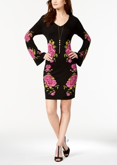 I.n.c. Petite Placed-Print Sweater Dress, Created for Macy's