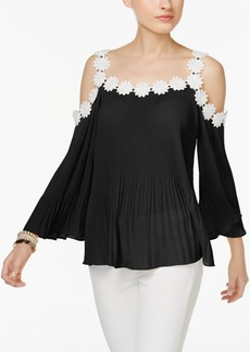 Inc International Concepts Floral-Trim Cold-Shoulder Top, Created for Macy's