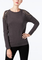 Inc International Concepts Grommet Cold-Shoulder Sweater, Created for Macy's