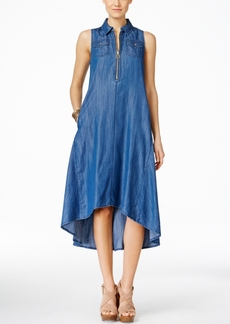 Inc International Concepts High-Low Denim Trapeze Dress, Only at Macy's