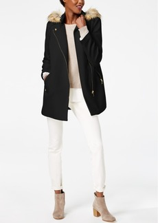 I.n.c. Hooded Textured Ponte Coat with Faux-Fur Trim, Created for Macy's