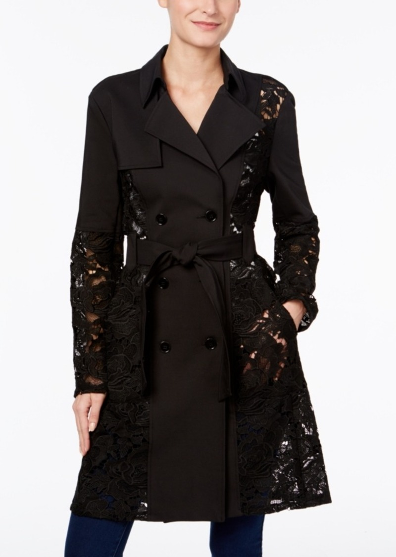 Inc International Concepts Illusion-Lace Trench Coat, Only at Macy's