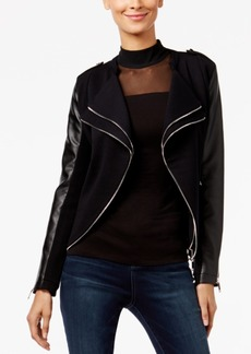 Inc International Concepts Petite Mixed-Media Moto Jacket, Only at Macy's