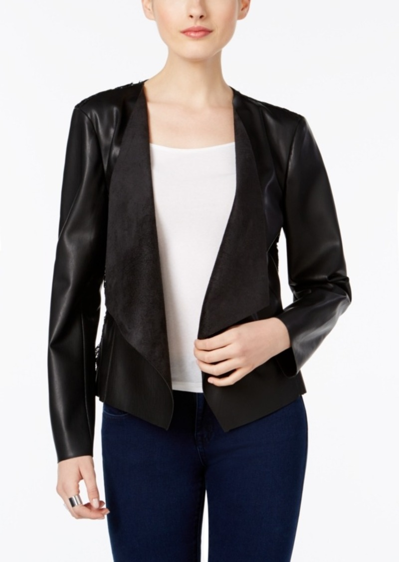 Inc International Concepts Lace-Back Faux-Leather Jacket, Only at Macy's