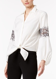 Inc International Concepts Lace-Inset Tie-Front Blouse, Only at Macy's