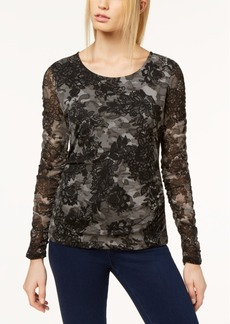 I.n.c. Petite Ruched Mesh Top, Created for Macy's
