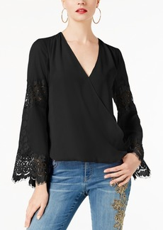 Inc International Concepts Petite Surplice-Neck Lace-Inset Blouse, Created for Macy's