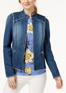 I.n.c. Petite Lace-Up Denim Jacket, Created for Macy's