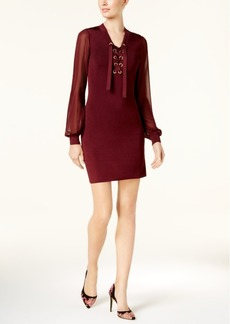 Inc International Concepts Lace-Up Illusion Dress, Created for Macy's