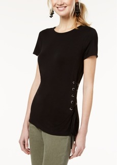 INC International Concepts I.n.c. Lace-Up Jersey T-Shirt, Created for Macy's
