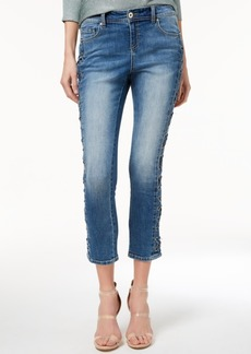 Inc International Concepts Curvy-Fit Lace-Up Skinny Jeans, Created for Macy's