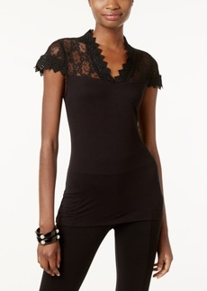 Inc International Concepts Lace-Yoke Top, Only at Macy's