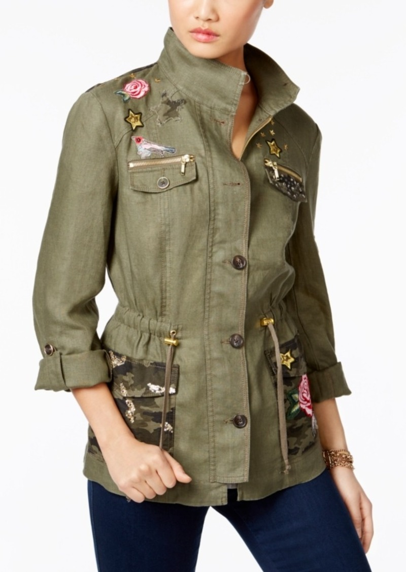 244713849edbc Inc International Concepts Linen Embellished Utility Jacket, Only at Macy's