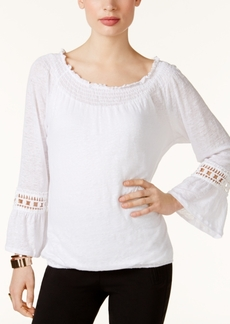 Inc International Concepts Linen Off-The-Shoulder Peasant Top, Only at Macy's