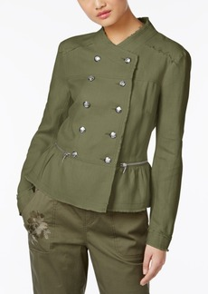 Inc International Concepts Linen Peplum Military Jacket, Only at Macy's