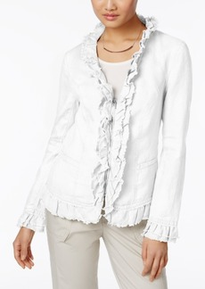 Inc International Concepts Linen Ruffled Jacket, Only at Macy's