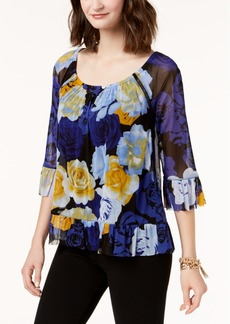 Inc International Concepts Mesh Flounce-Trim Top, Created for Macy's