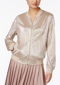 Inc International Concepts Petite Metallic Pleated Bomber Jacket, Created for Macy's