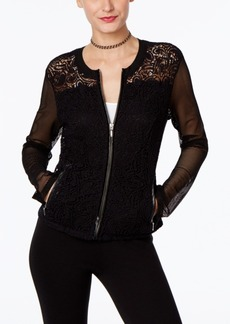 Inc International Concepts Mixed-Media Lace Bomber Jacket, Only at Macy's