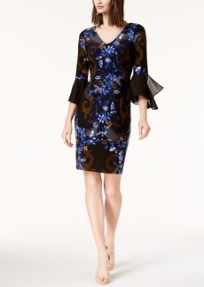 Inc International Concepts Mixed-Print Chiffon-Sleeve Dress, Created for Macy's