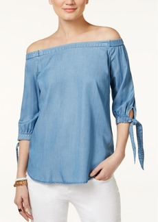 Inc International Concepts Off-The-Shoulder Chambray Top, Only at Macy's