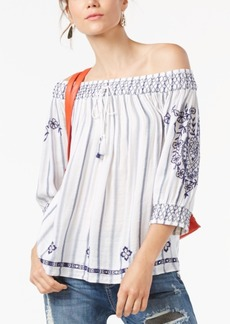 Inc International Concepts Petite Embroidered Striped Off-The-Shoulder Top, Created for Macy's