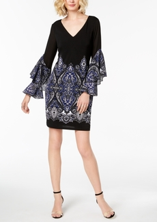 I.n.c. Paisley Ruffle-Sleeve Sheath Dress, Created for Macy's