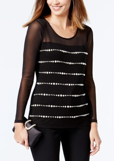 Inc International Concepts Pearl-Embellished Illusion Top, Created for Macy's
