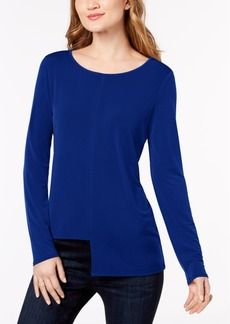 INC International Concepts I.n.c. Petite Asymmetrical Draped Top, Created for Macy's