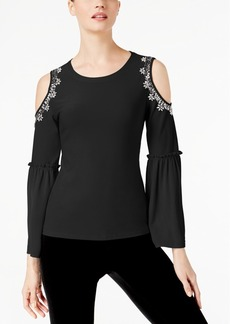 I.n.c. Petite Cold-Shoulder Bell-Sleeve Top, Created for Macy's