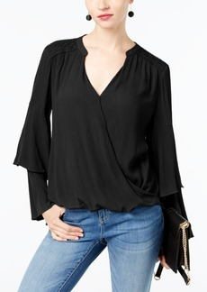 Inc International Concepts Petite Crepe Surplice Top, Created for Macy's