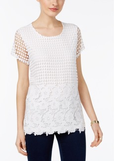 Inc International Concepts Petite Crochet Layered-Look Top, Only at Macy's