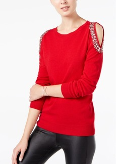 INC International Concepts I.n.c. Embellished Cold-Shoulder Sweater, Created for Macy's