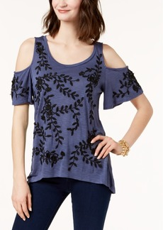 I.n.c. Petite Embroidered Cold-Shoulder Top, Created for Macy's