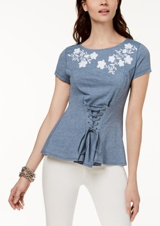 I.n.c. Petite Embroidered Corset T-Shirt, Created for Macy's