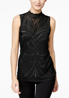 I.n.c. Petite Embroidered Mock-Neck Top, Created for Macy's