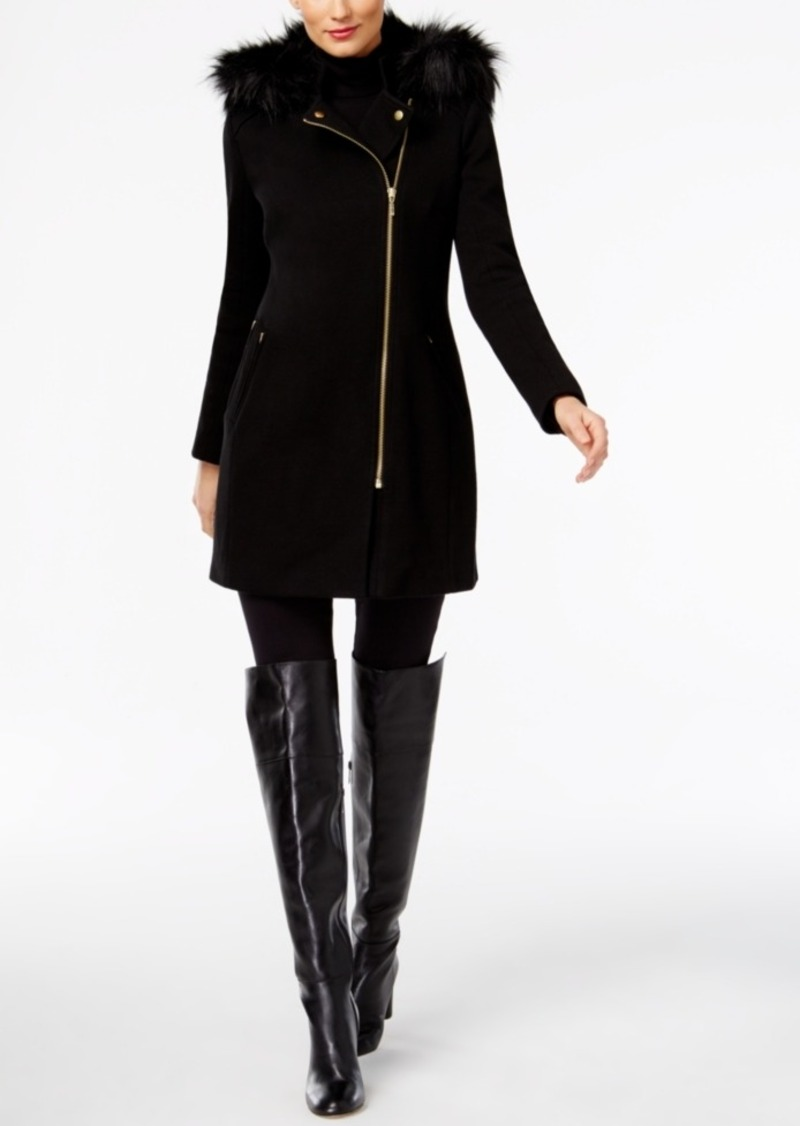 Inc International Concepts Petite Faux-Fur-Trim Moto Coat, Only at Macy's