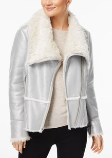 I.n.c. Petite Faux-Suede Aviator Jacket with Faux-Fur Trim, Created for Macy's