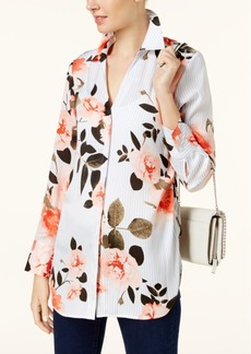 Inc International Concepts Petite Floral-Print Striped Blouse, Created for Macy's
