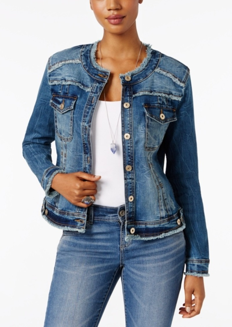 Inc International Concepts Frayed Denim Jacket, Created for Macy's
