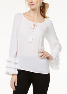 INC International Concepts I.n.c. Petite Fringe-Trim Peasant Top, Created for Macy's