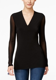 INC International Concepts I.n.c. Petite Illusion-Sleeve V-Neck Blouse, Created for Macy's
